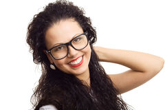 Beautiful woman in glasses smile isolated Royalty Free Stock Image