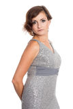 Beautiful woman in glittering dress Royalty Free Stock Images