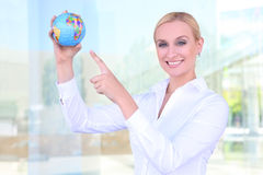 Beautiful Woman with Globe Royalty Free Stock Image