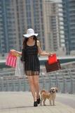 Beautiful woman goes in shopping Stock Photo