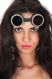 Beautiful woman in goggles close-up Stock Photography