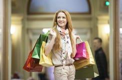 Beautiful woman going shopping Stock Photos