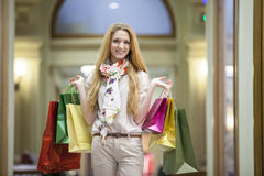 Beautiful woman going shopping Royalty Free Stock Photo