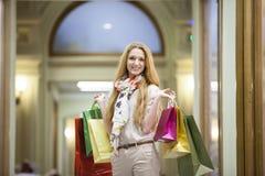 Beautiful woman going shopping Royalty Free Stock Image