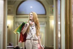 Beautiful woman going shopping Royalty Free Stock Photography