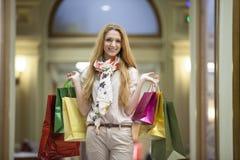 Beautiful woman going shopping Stock Photography