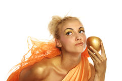 Beautiful woman with gold apple Royalty Free Stock Images