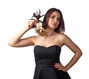 Beautiful woman with gold carnival mask Stock Image