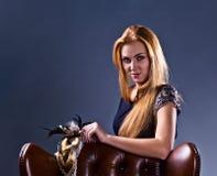 Beautiful woman with gold venetian mask Stock Photo