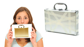 Beautiful woman with golden briefcase Stock Image