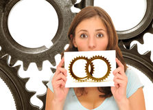Beautiful woman with golden gears Royalty Free Stock Photo