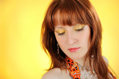 Beautiful woman with golden make-up Royalty Free Stock Photo