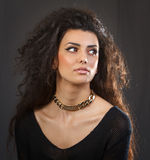 A beautiful woman with a golden necklace Stock Images