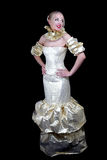 Beautiful woman in golden venetian dress Stock Image
