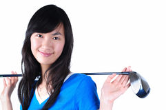 Beautiful Woman with Golf Equipment Stock Photos