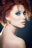Beautiful woman with gorgeous hair and makeup Stock Images