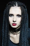 Beautiful woman in gothic shape with pigtails . Stock Image