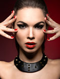 Beautiful woman in gothic style, evening makeup Royalty Free Stock Images