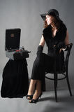 Beautiful woman with gramophone, Royalty Free Stock Image