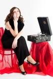 Beautiful woman with gramophone, Stock Photos