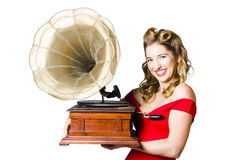 Beautiful woman with gramophone isolated on white Royalty Free Stock Photo