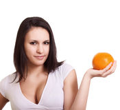 Beautiful woman with grapefruit Royalty Free Stock Image