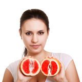Beautiful woman with grapefruit Royalty Free Stock Images