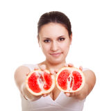 Beautiful woman with grapefruit Stock Photo