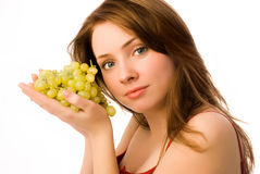 Beautiful woman with grapes Stock Photo
