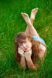 Beautiful Woman On A Grass Stock Photography