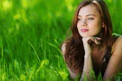 Beautiful woman on grass Royalty Free Stock Photo