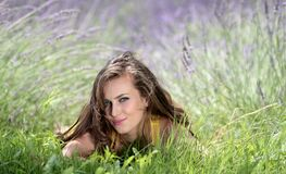 Beautiful Woman on Grass royalty free stock images