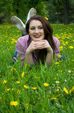 Beautiful woman on the grass Stock Photography