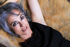 Beautiful Woman with Gray Hair Royalty Free Stock Image