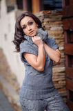 Beautiful woman in a gray knitted sweater for a walk Royalty Free Stock Photos