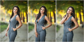 Beautiful woman in gray posing in autumnal park Royalty Free Stock Images
