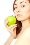 Beautiful woman with green apple Stock Photos