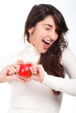 Beautiful woman with green apple in hands Stock Photography