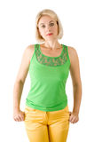 The beautiful woman in a green blouse Royalty Free Stock Images
