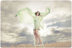 Beautiful woman in green dress background Stock Photos