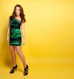 Beautiful Woman In Green Dress On Yellow Royalty Free Stock Image