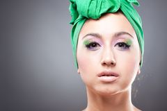 Beautiful woman  in green hat Royalty Free Stock Photos