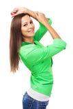 Beautiful woman in green jacket Stock Image