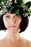 Beautiful Woman with Green Leaves and Flowers Royalty Free Stock Photos
