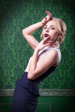 Beautiful woman on green vintage background Royalty Free Stock Photos