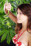 Beautiful woman in green wellnes Royalty Free Stock Photo