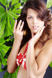 Beautiful woman in green wellnes Royalty Free Stock Photos