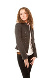 Beautiful woman in grey jacket. Andd black jeans isolated on white Royalty Free Stock Photos