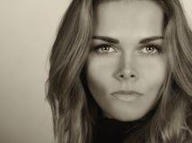 Beautiful Woman On Grey Stock Image