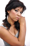 Beautiful woman grey top, cleavage and pigtail Royalty Free Stock Images